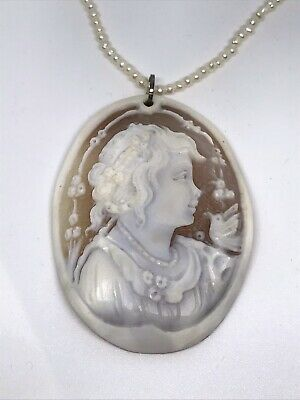 $49.99 • Buy M+M Scognamiglio Italy 70mm Child & Bird Cameo & Sterling Pearl Choker Necklace