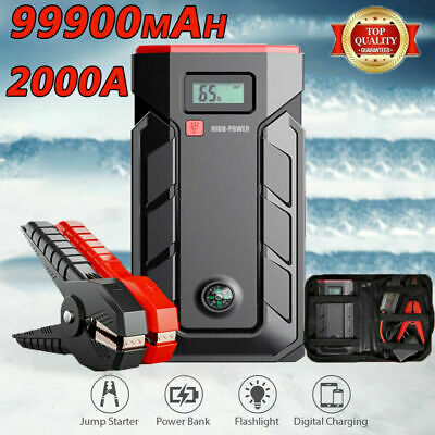 AU74.90 • Buy 99900mAh 2000A Car Jump Starter Booster Rescue Pack Battery Charger Power Bank!!