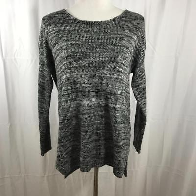 $25 • Buy Millau LF Stores Grey And White Knit Cozy Acrylic Scoop Neck Sweater Sz S