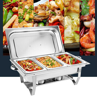 £46.51 • Buy 3 Pans Chafing Dish Set Stainless 9l Party Cater Food Warmer Dripless Water Pan