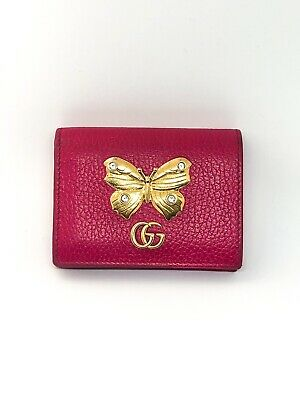 AU240 • Buy Gucci Butterfly Pink Small Wallet Card Holder Case