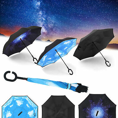 AU15.99 • Buy Windproof Upside Down Reverse Umbrella C-Handle Double Layer Inside-Out Inverted