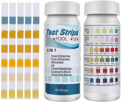 £7.99 • Buy Test Strips Kit 6 In 1 100pcs Hot Tub Swimming Pool Spa Chemicals Test Strips