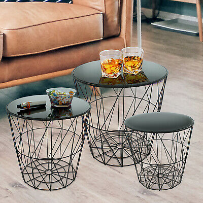 £39.99 • Buy Set Of 3 Round Nest Side Tables Black Glass Mirror Metal Wire Modern Living Room