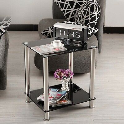 £18.99 • Buy Black Square Glass Coffee Table Side End Lamp Table 2 Tiers Small Display Stand
