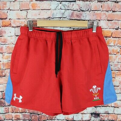 £25 • Buy UNDER ARMOUR Wales Rugby Men's Size Large Red Pockets Shorts