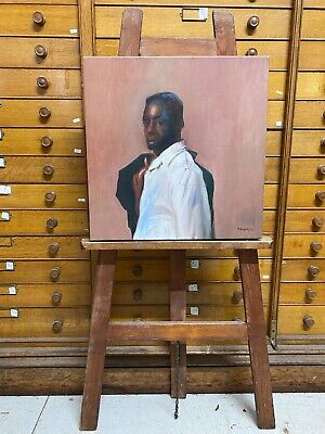 £40 • Buy Vintage 2012 R Bayley English Oil On Canvas Black Male Study Portrait Painting.