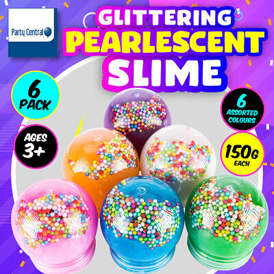 AU16.95 • Buy Party Central® 6PK Slime Glittering Pearlescent Varied Colours Non-Sticky 150g