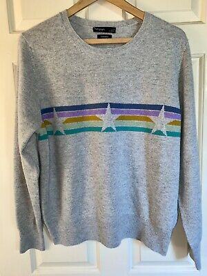 £42.99 • Buy Autograph M&S Pure Cashmere Star And Stripe Crew Neck Jumper Grey Size 16 BNWOT