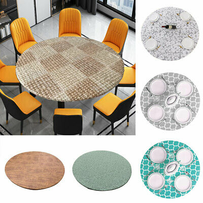 AU17.69 • Buy 1pc Elastic Tablecloth Round PVC Table Cover Waterproof Dining Room Oil-proof