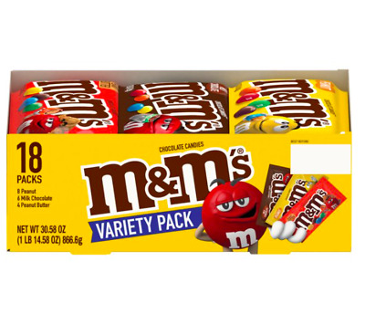 $17.12 • Buy New M&M'S Milk Chocolate Peanut And Peanut Butter Candies Variety Pack, 18 Ct