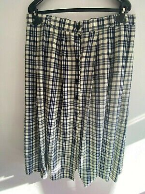 £1.90 • Buy Size 18 Vintage Blue White Checkered Summer Skirt Button Up Front Pleated Belt