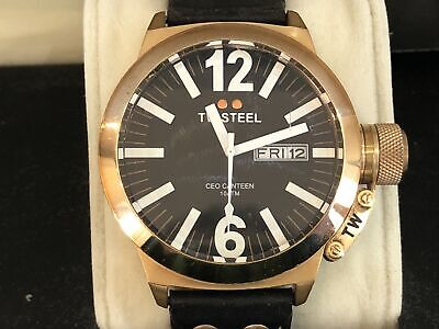 £75 • Buy TW STEEL MENS WATCH CE1021 45mm CANTEEN ROSE GOLD , BLACK LEATHER STRAP, B&P