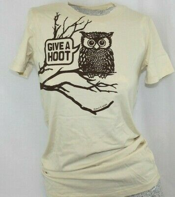 £10.43 • Buy Womens David & Goliath Give A Hoot Don't Pollute Owl Novelty Tee T-Shirt