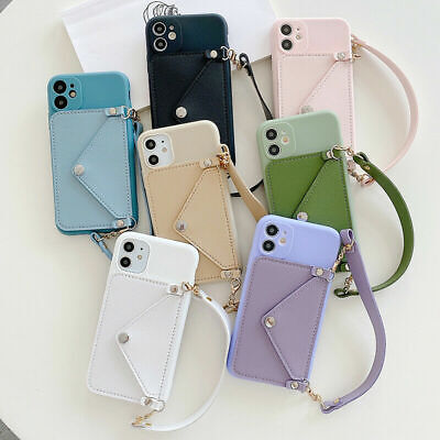 AU15.29 • Buy Wallet Phone Case For IPhone 11 Pro Max 8 Card Holder Chain Strap Envelope Cover
