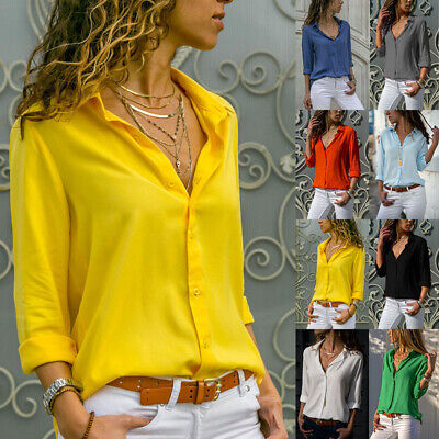 £8.99 • Buy Womens Long Sleeve Solid Blouse Tops Ladies OL Casual Button Up Shirt Plus Size