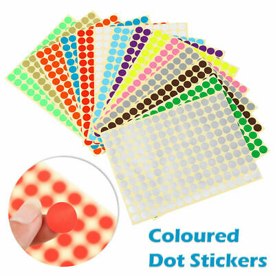 £0.99 • Buy ANY SIZE Coloured Dot Stickers Round Spot Circles Dots Paper Labels *14 COLOURS