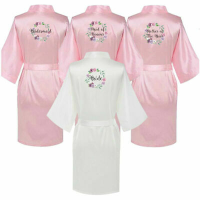 £8.81 • Buy Personalized Bride Pink Wedding Bridesmaid Floral Satin Robe Mother Squad Gown