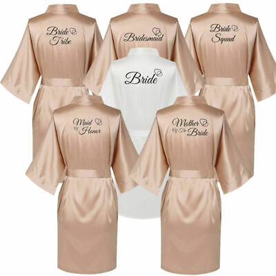 £8.81 • Buy Personalized Satin Silk Wedding Bride Heart Robe Bridesmaid Maid Gown Champagne