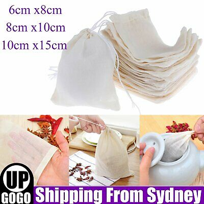 AU22.99 • Buy UP TO 50x Reusable 100% Cotton Mesh Filter Bags Spices Herbs Tea Soup Drawstring