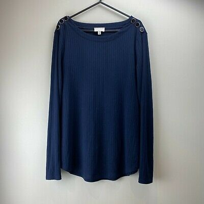 AU19.95 • Buy Witchery Women's Navy Blue Long Sleeve Button Feature Chic Blouse Top Size M