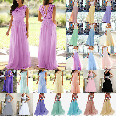 AU27.19 • Buy Womens Lace Formal Evening Party Prom Gown Bridesmaid Wedding Fairy Maxi Dresses