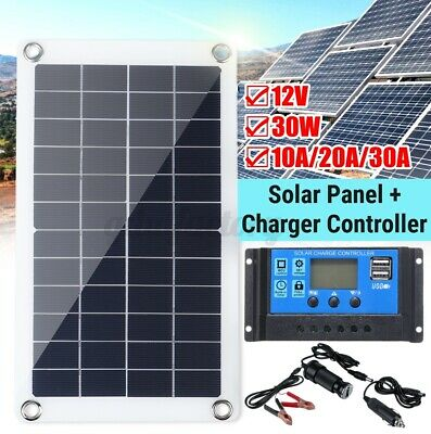 £18.99 • Buy 12V 30W Solar Panel Monocrystalline Silicon Battery Charger Kit Controller