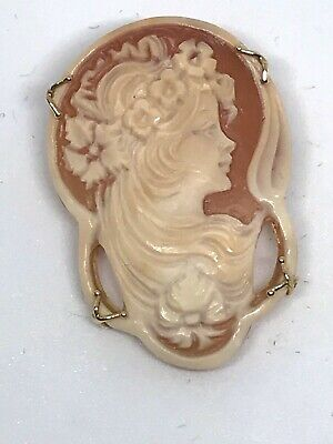 $89.99 • Buy RARE M+M Scognamiglio 14k Signed Carved Shell Cameo Brooch Made In Italy