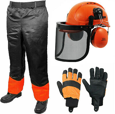 £74.99 • Buy Chainsaw Safety Helmet Visor Ear Muffs Chin Strap Gloves + Forestry Trousers