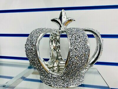 £15.99 • Buy Silver Crushed Diamond Sparkly Crown King Queen Ornament Shelf Sitter