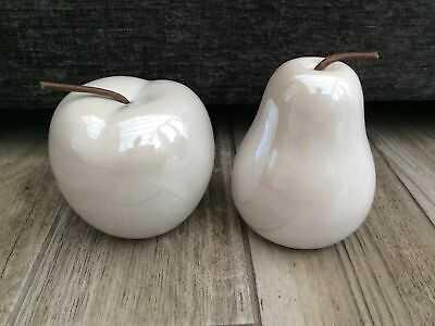£17.95 • Buy Stunning Pair Of Glimmer Apple & Pear Ornaments Shelf Sitters Home