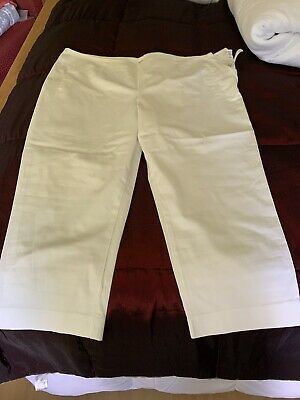 £4 • Buy Ladies Marks And Spencer White Slim Cropped Trousers Size 16 Short