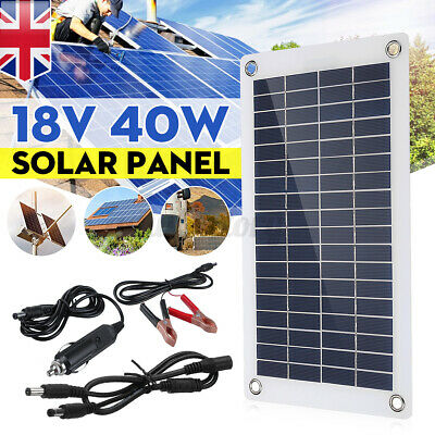 £21.59 • Buy UK 12V 40W Dual Double USB Flexible Solar Panel Battery Charger For Car Boat