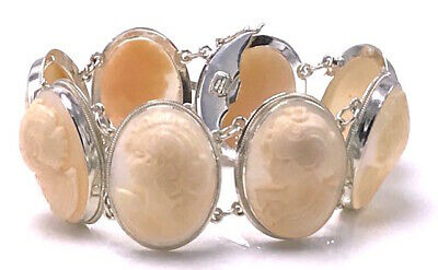 $299.99 • Buy RARE M+M Scognamiglio Sterling Italy Carved Shell Cameo 8 Station Bracelet