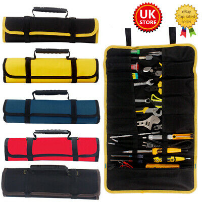 £9.49 • Buy Canvas Pocket Tool Roll Spanner Up Fold Case Bag Storage Tool Wrench Tidies UK *