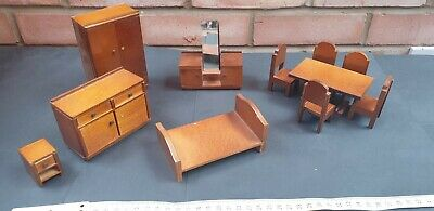 £4.95 • Buy Vintage Lot Of Wooden Doll's House Furniture, Wardrobe, Bed, Table & Chairs Etc