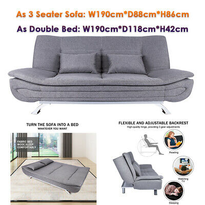 £59 • Buy 1.9m Upholstered Sofa Bed Recliner Chair 3 Seater Couch Settee  Double Sofabed