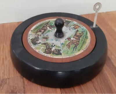 £38 • Buy Antique Horse Racing Parlour Game With Wooden Spinning Top