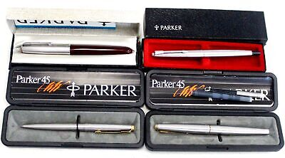 £24 • Buy 4x PARKER BRAND Ball Point & Fountain Pens CASED - T04