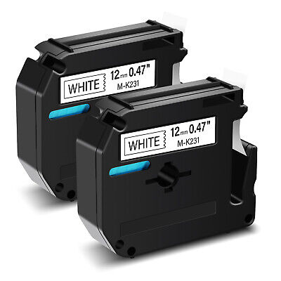 $5.97 • Buy 2PK Black On White Label Tape For Brother M-K231 M231 P-touch PT-70/80/90 1/2
