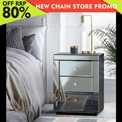 AU205.85 • Buy Artiss Mirrored Bedside Table Drawers Furniture Mirror Glass Presia Smoky Grey