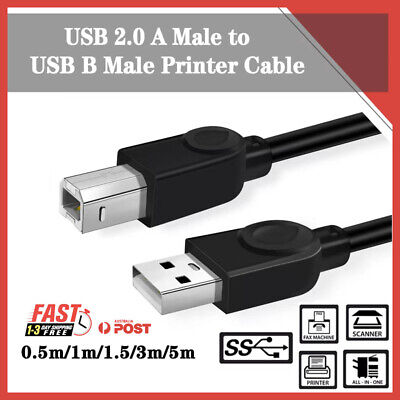 AU5.25 • Buy USB 2.0 Type A Male To B Printer Cable For HP Canon Dell Brother Epson Xerox AU