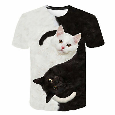 £7.99 • Buy Mens Womens 3D Cat Short Sleeve T-Shirt Tee Tops Blouse Pullover Plus Size Tunic
