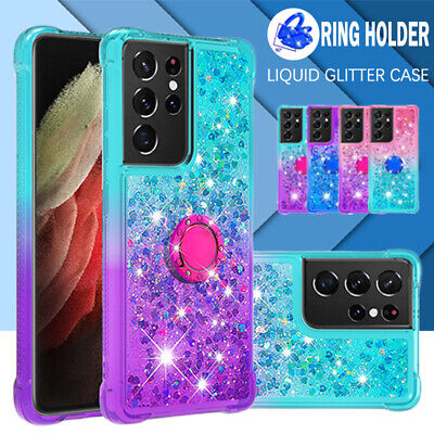 AU13.69 • Buy For Samsung S21 S20 FE Ultra S10 S9 S8 Plus Case Clear Liquid Glitter Ring Cover