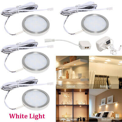 £13.99 • Buy Led Under Cabinet Lamp Round Counter Lights Lighting Kit For Cupboard Kitchen