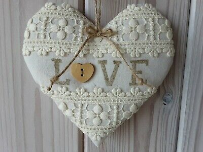 £14.50 • Buy 2nd Cotton 13th Wedding Anniversary Vintage Lace LOVE Heart Handmade Gift ❤