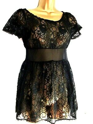 £8 • Buy Topshop Black Lace Long Flared Top Lovely Petite U.k 8 Rock Chic....see Through