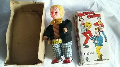 £29.95 • Buy VINTAGE MUSICAL WIND UP CLOCK WORK CLOWN TOY And Drum WITH BOX Made In Japan
