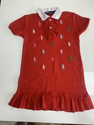 £6.50 • Buy Red Ralph Lauren T-Shirt Polo Dress Age 4-5 Years (128) Designer Good Condition!