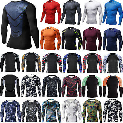 £11.89 • Buy Men Long Sleeve Compression Base Layer Top GYM Sport Thermal Tights Tee Shirt,